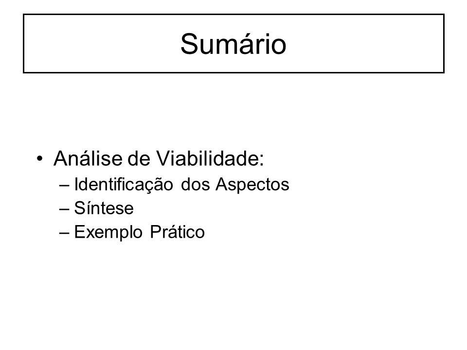 Sumário Análise de Viabilidade: –Identificação dos Aspectos –Síntese –Exemplo Prático