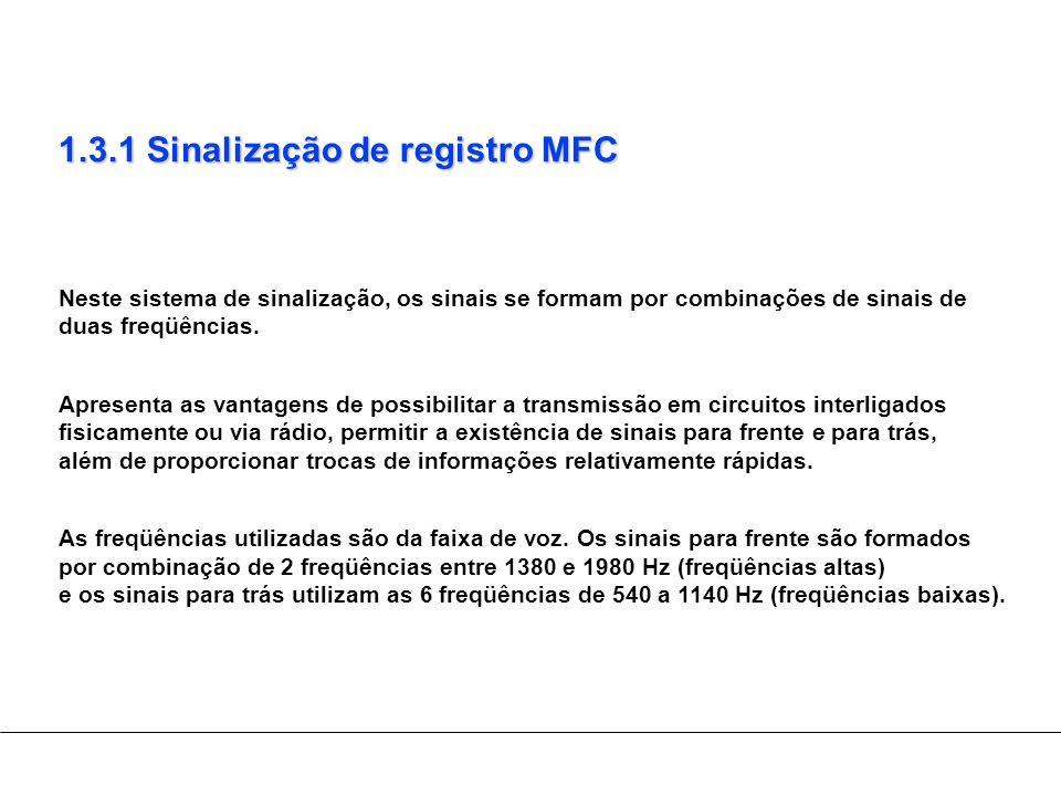 1.3.1 Sinalização de registro MFC Neste sistema de sinalização, os sinais se formam por combinações de sinais de duas freqüências. Apresenta as vantag