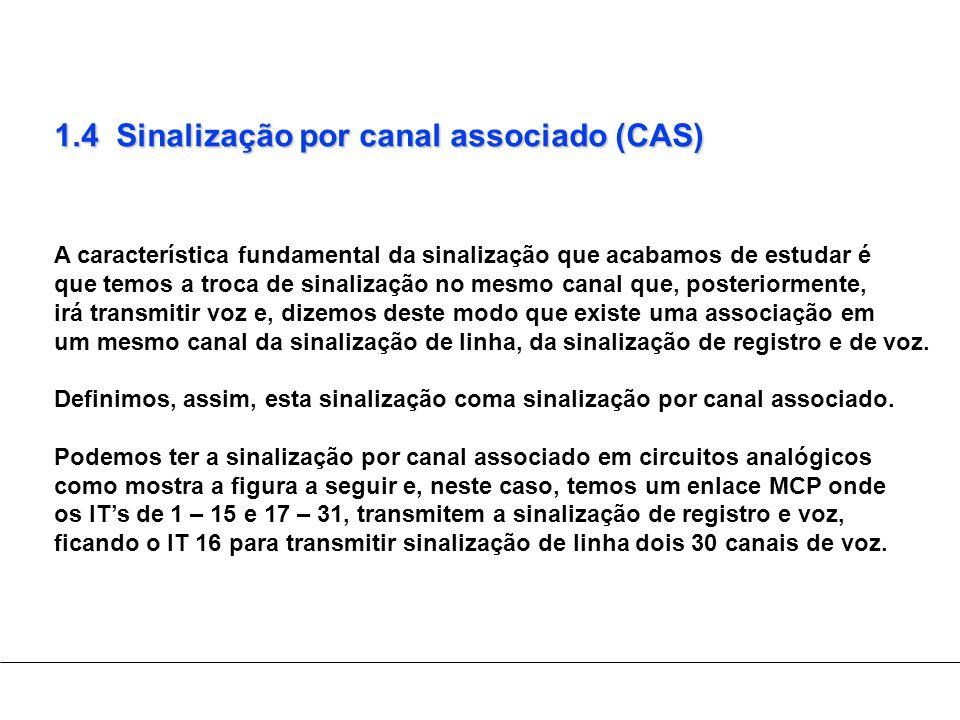 1.4 Sinalização por canal associado (CAS) A característica fundamental da sinalização que acabamos de estudar é que temos a troca de sinalização no me