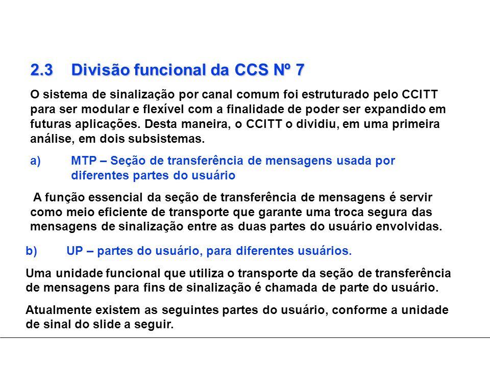 2.3Divisão funcional da CCS Nº 7 O sistema de sinalização por canal comum foi estruturado pelo CCITT para ser modular e flexível com a finalidade de p