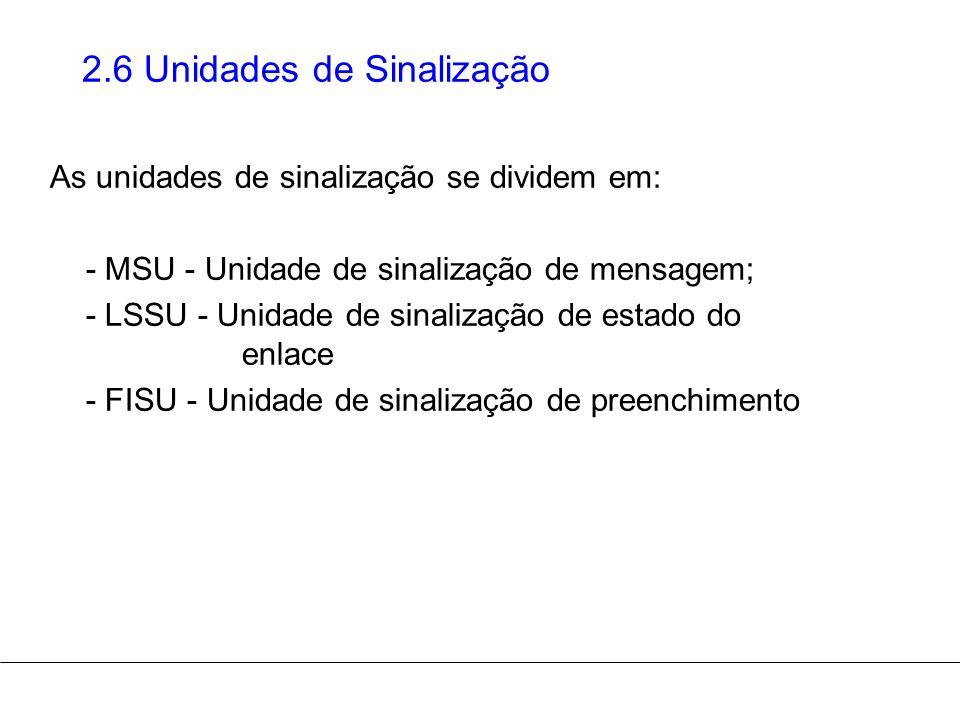 2.6 Unidades de Sinalização As unidades de sinalização se dividem em: - MSU - Unidade de sinalização de mensagem; - LSSU - Unidade de sinalização de e