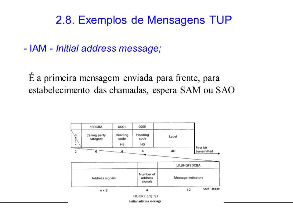 2.8. Exemplos de Mensagens TUP - IAM - Initial address message; É a primeira mensagem enviada para frente, para estabelecimento das chamadas, espera S