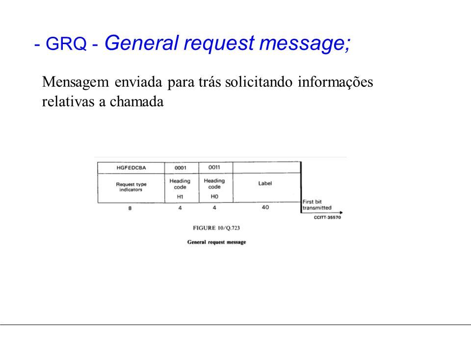 - GRQ - General request message; Mensagem enviada para trás solicitando informações relativas a chamada