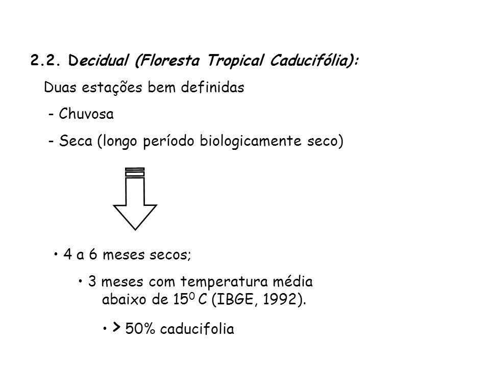 2.2. Decidual (Floresta Tropical Caducifólia): Duas estações bem definidas - Chuvosa - Seca (longo período biologicamente seco) 4 a 6 meses secos; 3 m