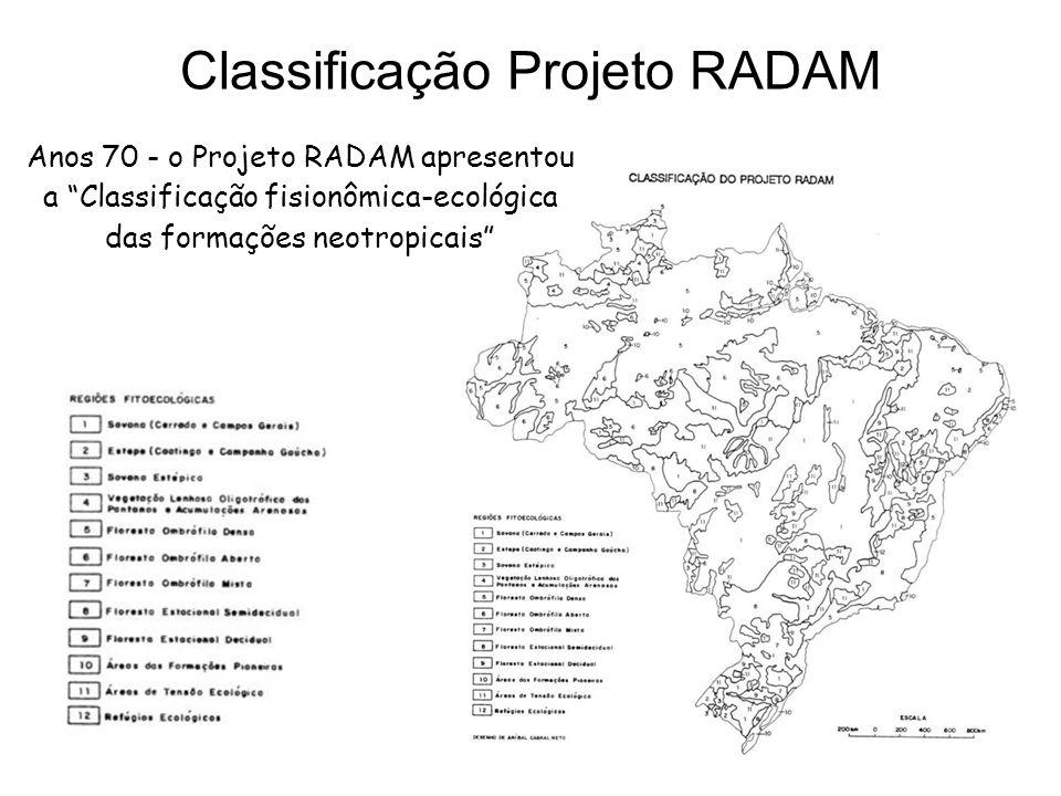 Anos 70 - o Projeto RADAM apresentou a Classificação fisionômica-ecológica das formações neotropicais Classificação Projeto RADAM