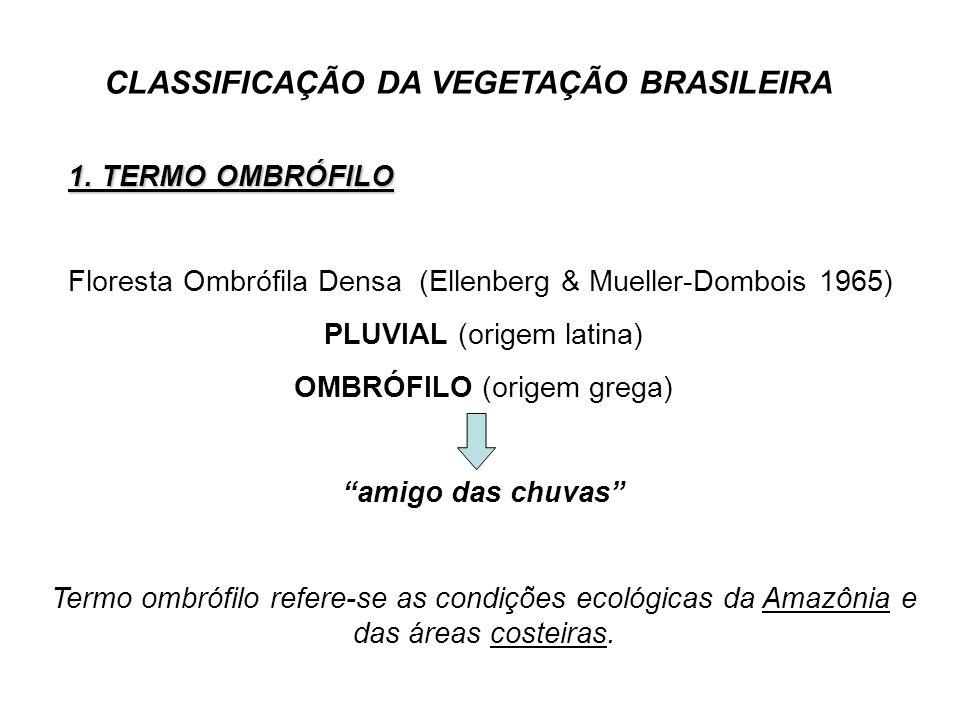 CLASSIFICAÇÃO DA VEGETAÇÃO BRASILEIRA 1. TERMO OMBRÓFILO Floresta Ombrófila Densa (Ellenberg & Mueller-Dombois 1965) PLUVIAL (origem latina) OMBRÓFILO