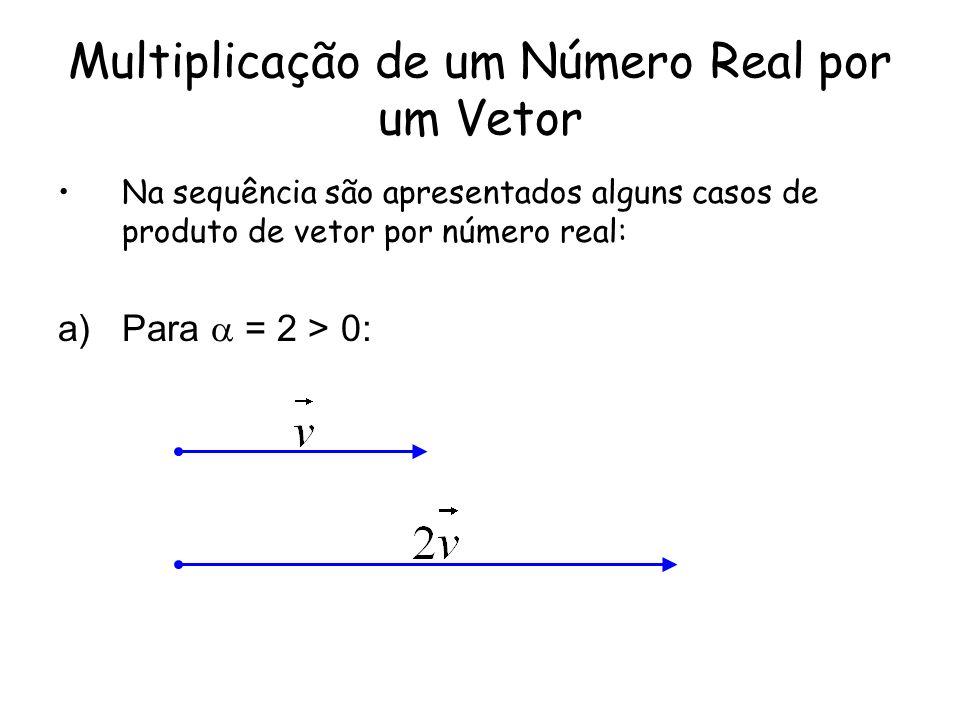 Multiplicação de um Número Real por um Vetor Na sequência são apresentados alguns casos de produto de vetor por número real: a)Para = 2 > 0: