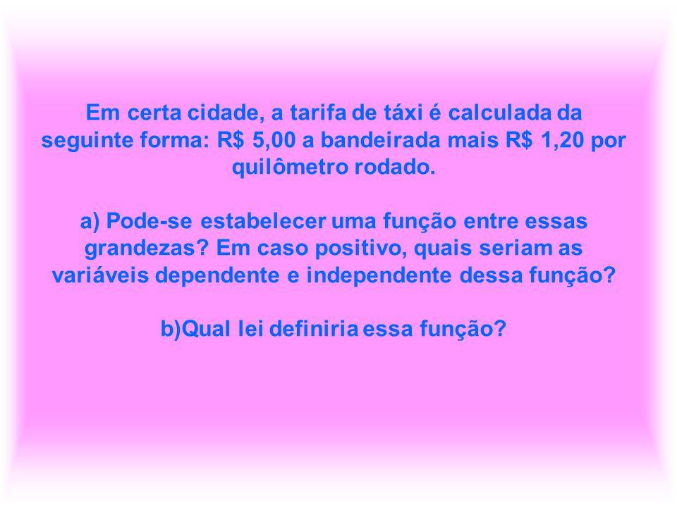 Em certa cidade, a tarifa de táxi é calculada da seguinte forma: R$ 5,00 a bandeirada mais R$ 1,20 por quilômetro rodado. a) Pode-se estabelecer uma f