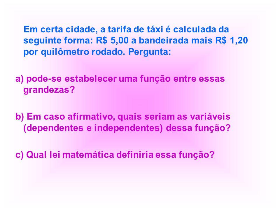Em certa cidade, a tarifa de táxi é calculada da seguinte forma: R$ 5,00 a bandeirada mais R$ 1,20 por quilômetro rodado. Pergunta: a) pode-se estabel