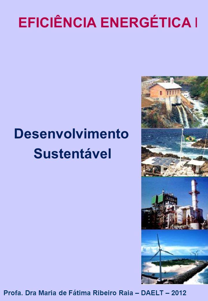 1 EFICIÊNCIA ENERGÉTICA I Desenvolvimento Sustentável Profa. Dra Maria de Fátima Ribeiro Raia – DAELT – 2012