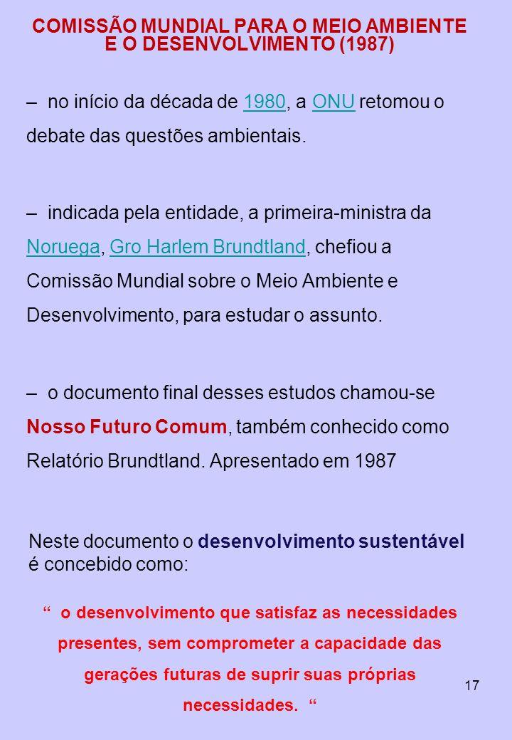 17 COMISSÃO MUNDIAL PARA O MEIO AMBIENTE E O DESENVOLVIMENTO (1987) –no início da década de 1980, a ONU retomou o debate das questões ambientais.1980O