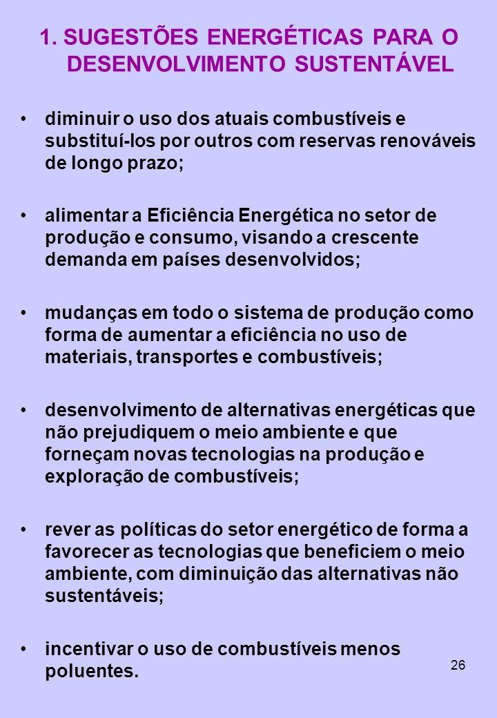 26 1. SUGESTÕES ENERGÉTICAS PARA O DESENVOLVIMENTO SUSTENTÁVEL diminuir o uso dos atuais combustíveis e substituí-los por outros com reservas renováve