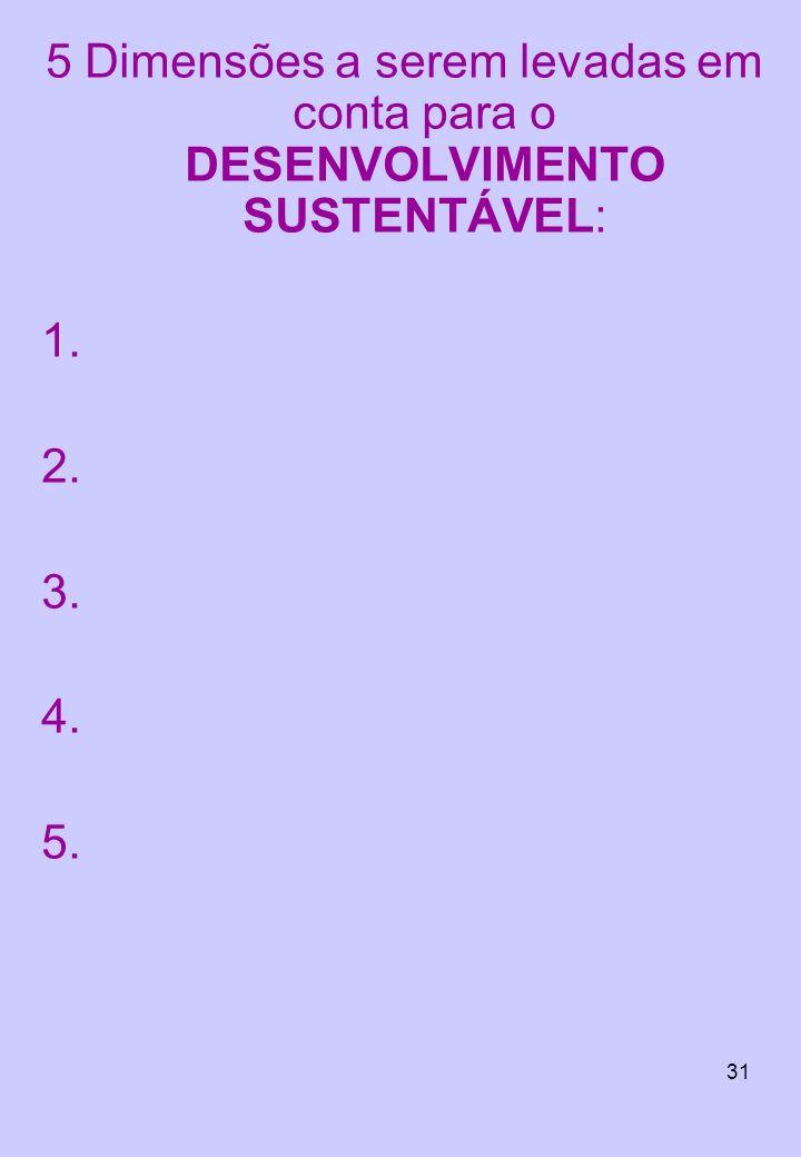 31 5 Dimensões a serem levadas em conta para o DESENVOLVIMENTO SUSTENTÁVEL: 1. 2. 3. 4. 5.