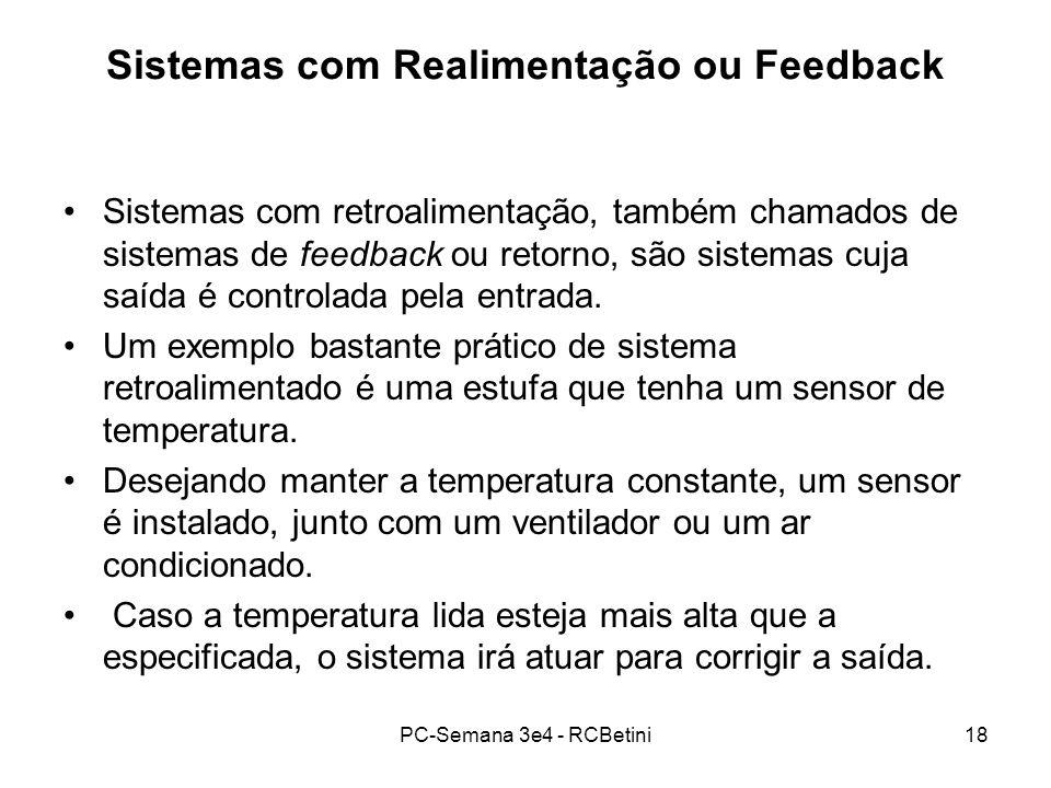 PC-Semana 3e4 - RCBetini18 Sistemas com Realimentação ou Feedback Sistemas com retroalimentação, também chamados de sistemas de feedback ou retorno, s