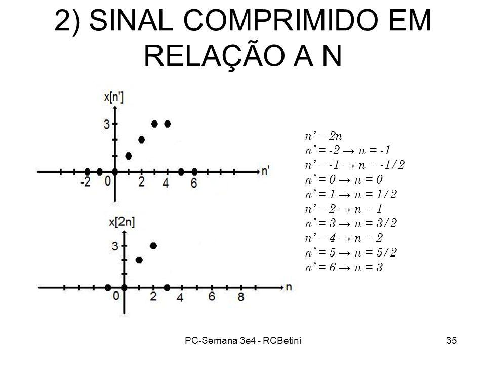 PC-Semana 3e4 - RCBetini35 2) SINAL COMPRIMIDO EM RELAÇÃO A N n = 2n n = -2 n = -1 n = -1 n = -1/2 n = 0 n = 1 n = 1/2 n = 2 n = 1 n = 3 n = 3/2 n = 4