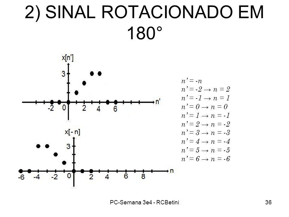 PC-Semana 3e4 - RCBetini36 2) SINAL ROTACIONADO EM 180° n = -n n = -2 n = 2 n = -1 n = 1 n = 0 n = 1 n = -1 n = 2 n = -2 n = 3 n = -3 n = 4 n = -4 n =