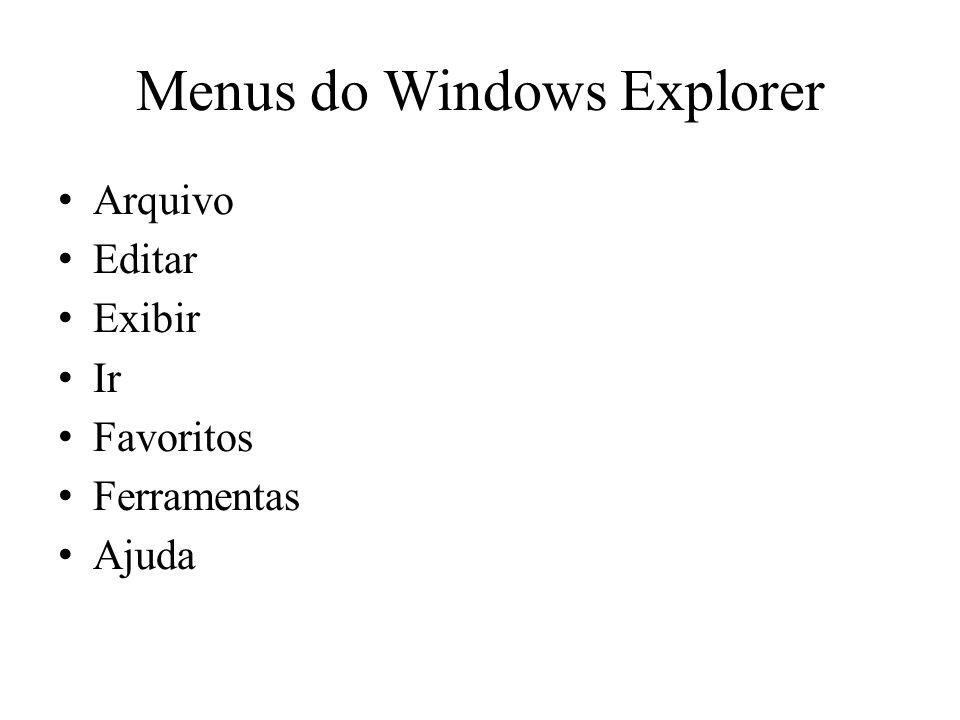 Menus do Windows Explorer Arquivo Editar Exibir Ir Favoritos Ferramentas Ajuda
