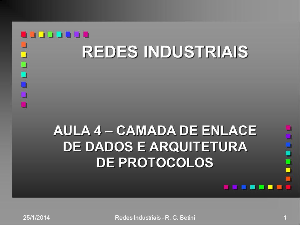 25/1/2014 Redes Industriais - R. C. Betini 1 REDES INDUSTRIAIS AULA 4 – CAMADA DE ENLACE DE DADOS E ARQUITETURA DE PROTOCOLOS
