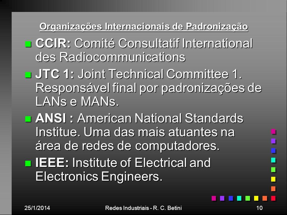 25/1/2014Redes Industriais - R. C. Betini10 Organizações Internacionais de Padronização n CCIR: Comité Consultatif International des Radiocommunicatio