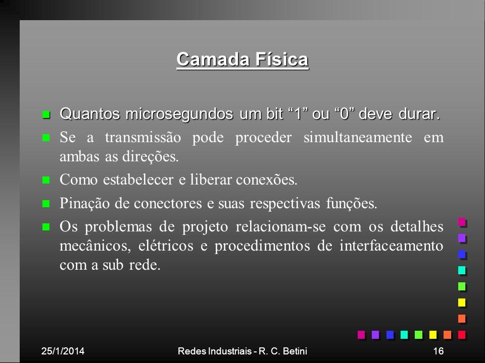 25/1/2014Redes Industriais - R. C. Betini16 Camada Física n Quantos microsegundos um bit 1 ou 0 deve durar. n n Se a transmissão pode proceder simulta
