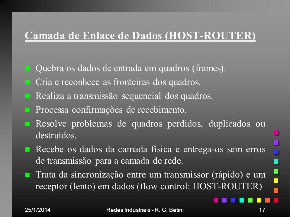 25/1/2014Redes Industriais - R. C. Betini17 Camada de Enlace de Dados (HOST-ROUTER) n n Quebra os dados de entrada em quadros (frames). n n Cria e rec