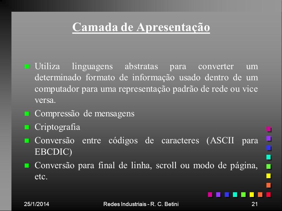 25/1/2014Redes Industriais - R. C. Betini21 Camada de Apresentação n n Utiliza linguagens abstratas para converter um determinado formato de informaçã