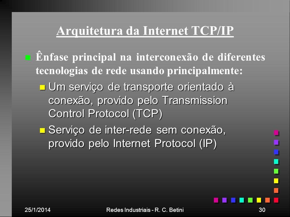 25/1/2014Redes Industriais - R. C. Betini30 Arquitetura da Internet TCP/IP n n Ênfase principal na interconexão de diferentes tecnologias de rede usan