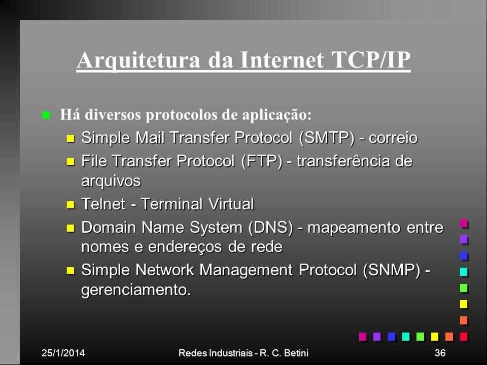 25/1/2014Redes Industriais - R. C. Betini36 Arquitetura da Internet TCP/IP n n Há diversos protocolos de aplicação: n Simple Mail Transfer Protocol (S