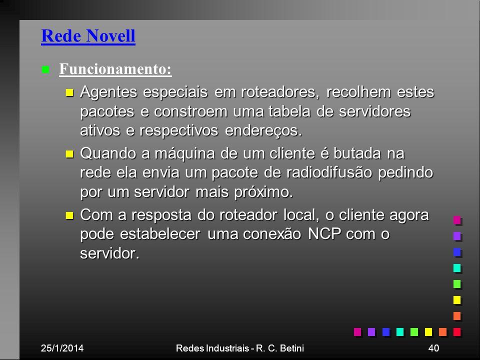 25/1/2014Redes Industriais - R. C. Betini40 Rede Novell n n Funcionamento: n Agentes especiais em roteadores, recolhem estes pacotes e constroem uma t