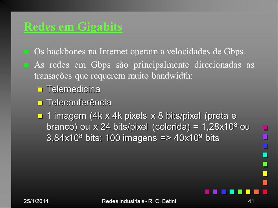 25/1/2014Redes Industriais - R. C. Betini41 Redes em Gigabits n n Os backbones na Internet operam a velocidades de Gbps. n n As redes em Gbps são prin