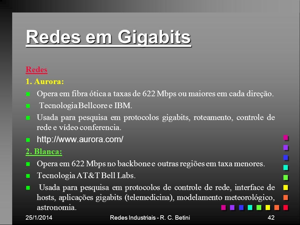25/1/2014Redes Industriais - R. C. Betini42 Redes em Gigabits Redes 1. Aurora: n n Opera em fibra ótica a taxas de 622 Mbps ou maiores em cada direção