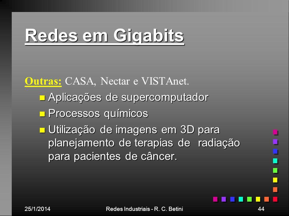 25/1/2014Redes Industriais - R. C. Betini44 Redes em Gigabits Outras: CASA, Nectar e VISTAnet. n Aplicações de supercomputador n Processos químicos n
