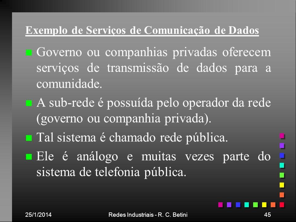 25/1/2014Redes Industriais - R. C. Betini45 Exemplo de Serviços de Comunicação de Dados n n Governo ou companhias privadas oferecem serviços de transm