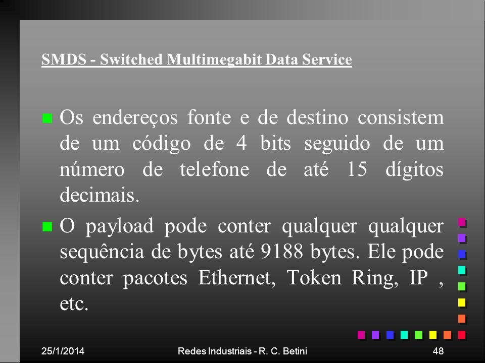 25/1/2014Redes Industriais - R. C. Betini48 SMDS - Switched Multimegabit Data Service n n Os endereços fonte e de destino consistem de um código de 4