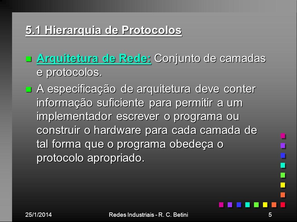 25/1/2014Redes Industriais - R. C. Betini5 5.1 Hierarquia de Protocolos n Arquitetura de Rede: Conjunto de camadas e protocolos. n A especificação de