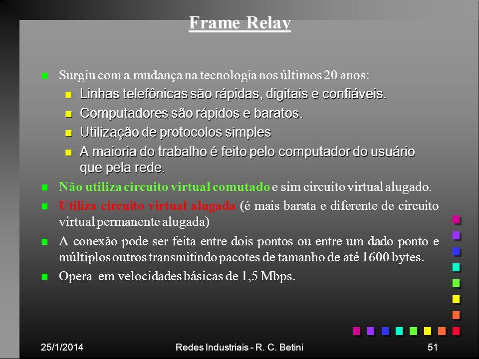 25/1/2014Redes Industriais - R. C. Betini51 Frame Relay n n Surgiu com a mudança na tecnologia nos últimos 20 anos: n Linhas telefônicas são rápidas,