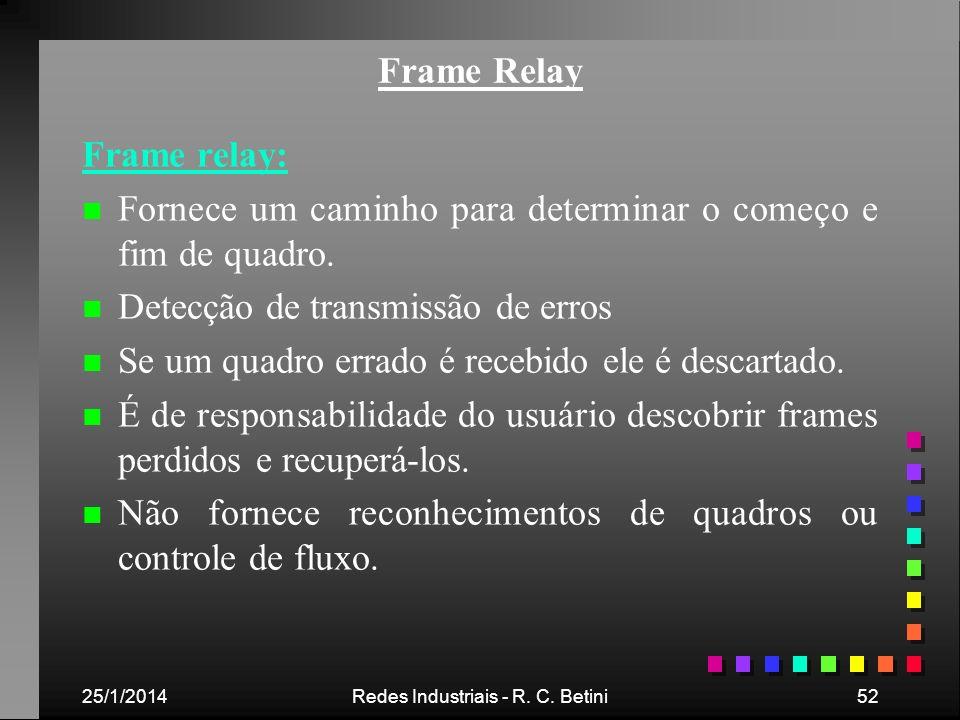 25/1/2014Redes Industriais - R. C. Betini52 Frame Relay Frame relay: n n Fornece um caminho para determinar o começo e fim de quadro. n n Detecção de