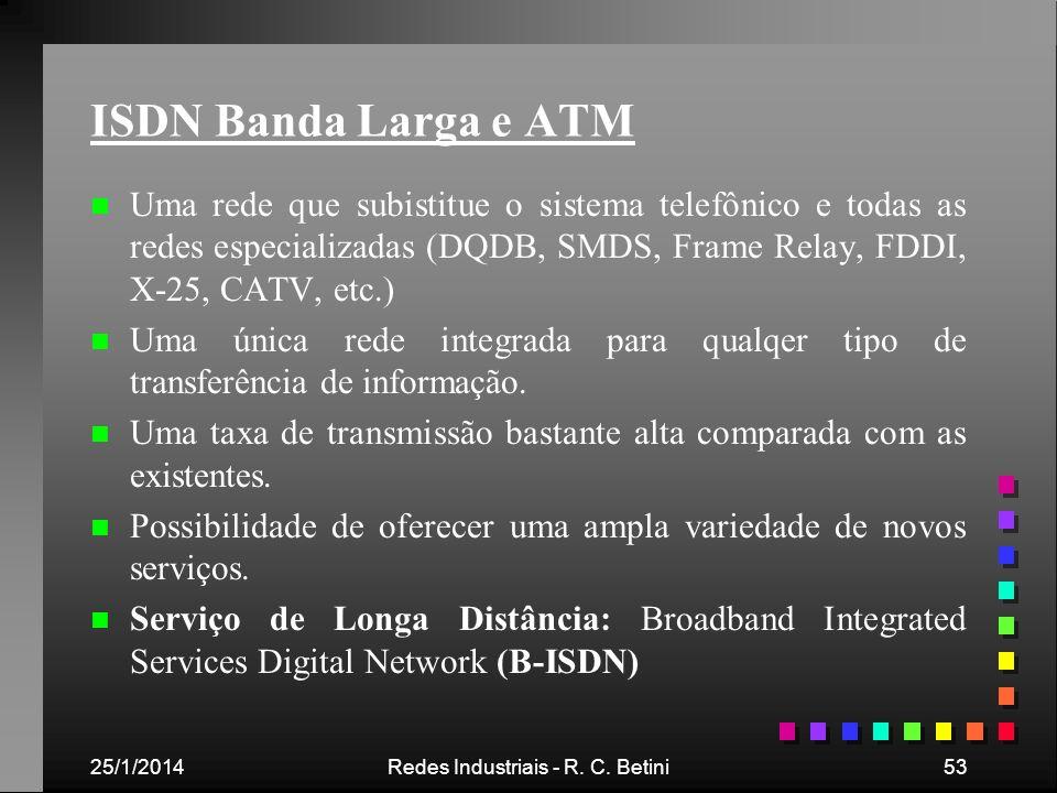 25/1/2014Redes Industriais - R. C. Betini53 ISDN Banda Larga e ATM n n Uma rede que subistitue o sistema telefônico e todas as redes especializadas (D
