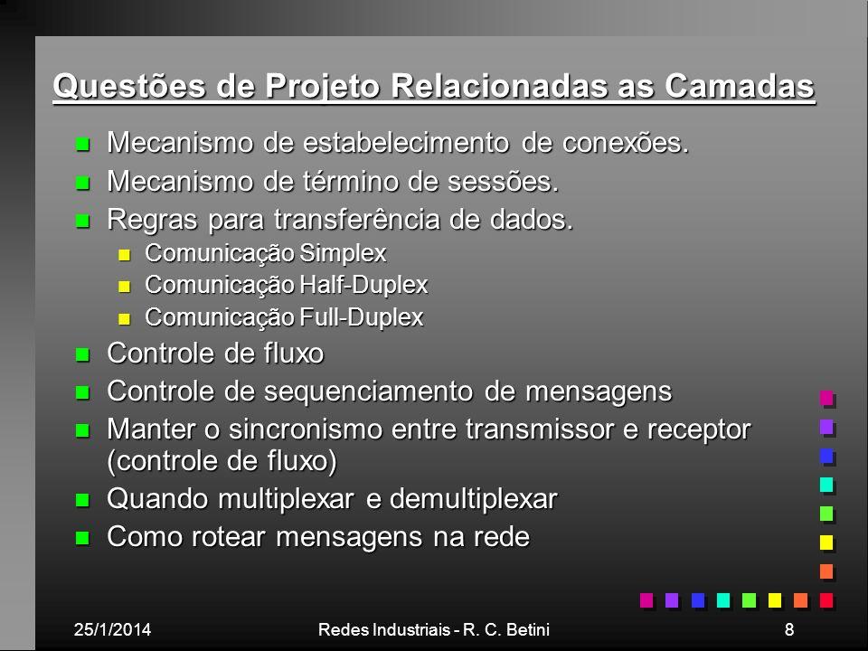 25/1/2014Redes Industriais - R. C. Betini8 Questões de Projeto Relacionadas as Camadas n Mecanismo de estabelecimento de conexões. n Mecanismo de térm