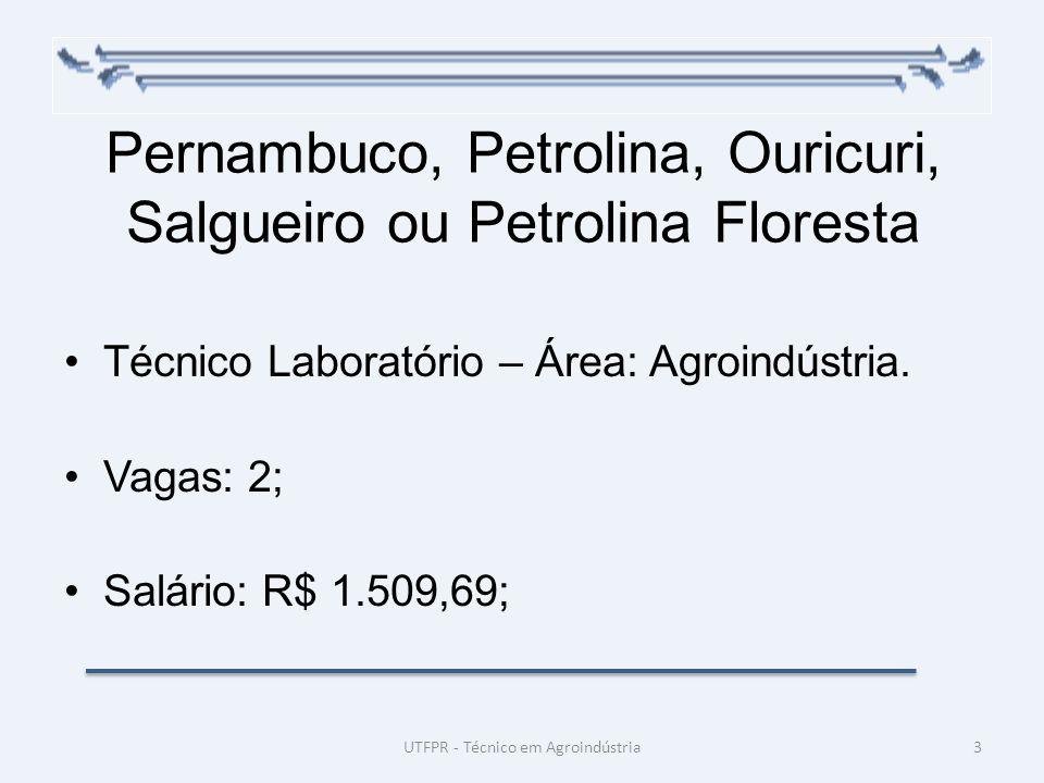 Pernambuco, Petrolina, Ouricuri, Salgueiro ou Petrolina Floresta Técnico Laboratório – Área: Agroindústria. Vagas: 2; Salário: R$ 1.509,69; 3UTFPR - T
