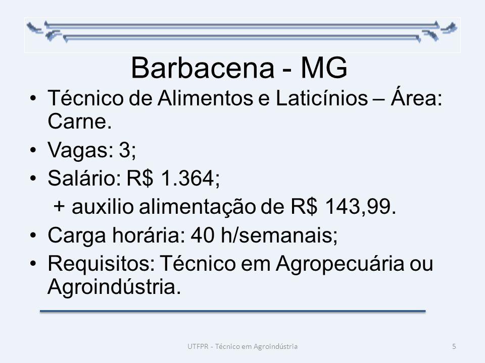 Barbacena - MG Técnico de Alimentos e Laticínios – Área: Carne. Vagas: 3; Salário: R$ 1.364; + auxilio alimentação de R$ 143,99. Carga horária: 40 h/s