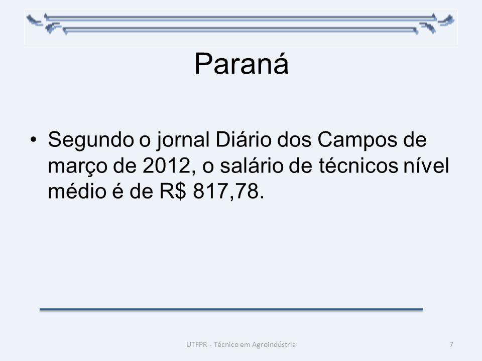 Paraná Segundo o jornal Diário dos Campos de março de 2012, o salário de técnicos nível médio é de R$ 817,78. 7UTFPR - Técnico em Agroindústria