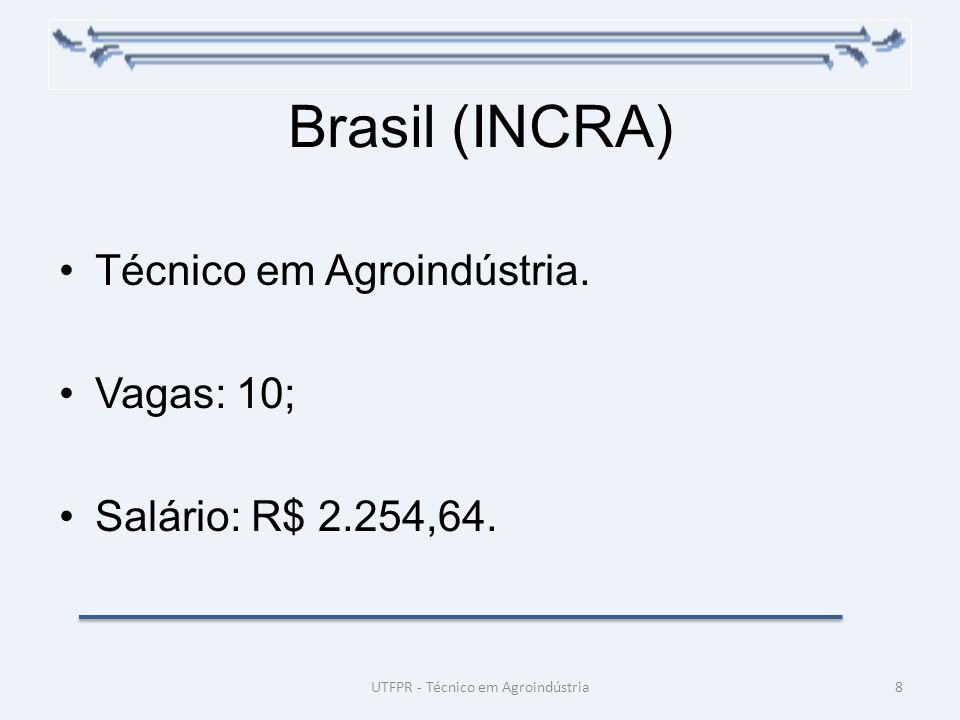 Brasil (INCRA) Técnico em Agroindústria. Vagas: 10; Salário: R$ 2.254,64. 8UTFPR - Técnico em Agroindústria