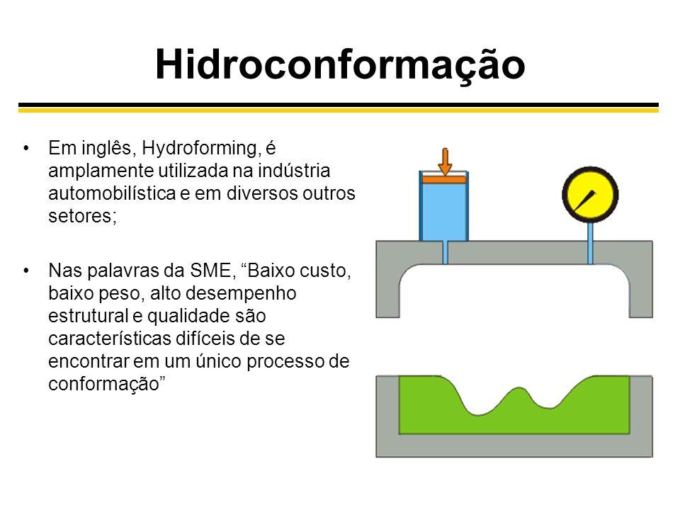 Hidroconformação Em inglês, Hydroforming, é amplamente utilizada na indústria automobilística e em diversos outros setores; Nas palavras da SME, Baixo custo, baixo peso, alto desempenho estrutural e qualidade são características difíceis de se encontrar em um único processo de conformação