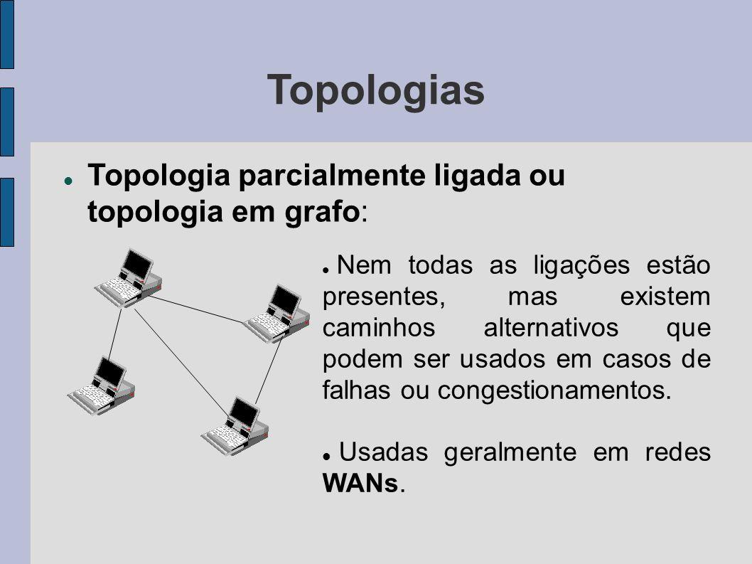 Topologias Topologia parcialmente ligada ou topologia em grafo: Nem todas as ligações estão presentes, mas existem caminhos alternativos que podem ser usados em casos de falhas ou congestionamentos.