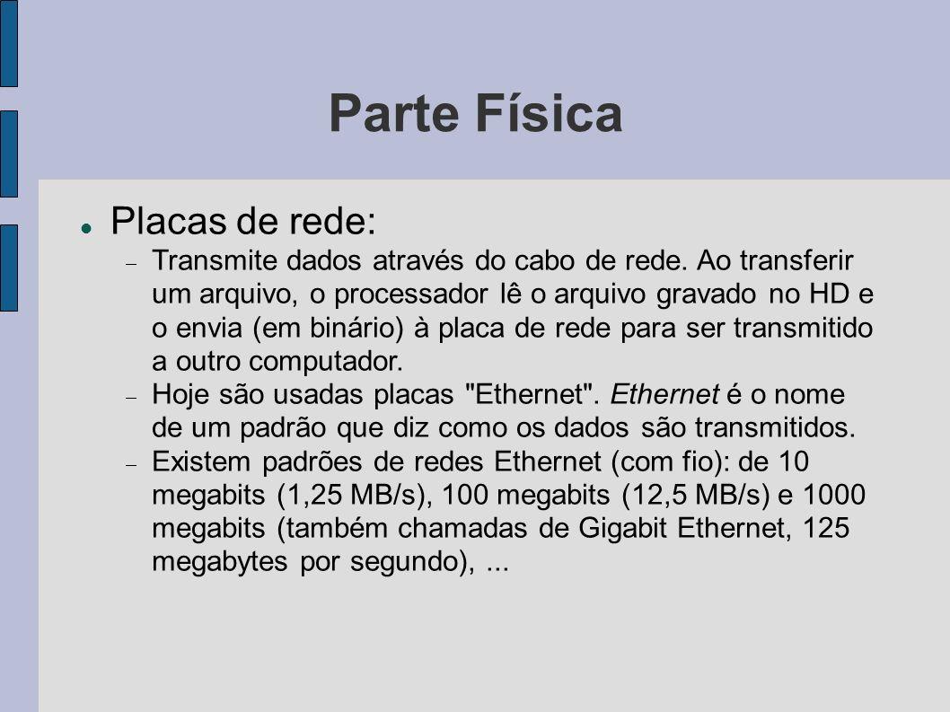 Parte Física Placas de rede: Transmite dados através do cabo de rede.