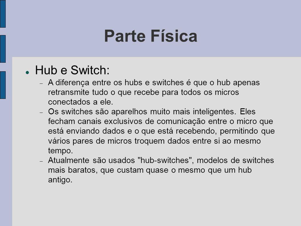 Parte Física Hub e Switch: A diferença entre os hubs e switches é que o hub apenas retransmite tudo o que recebe para todos os micros conectados a ele.