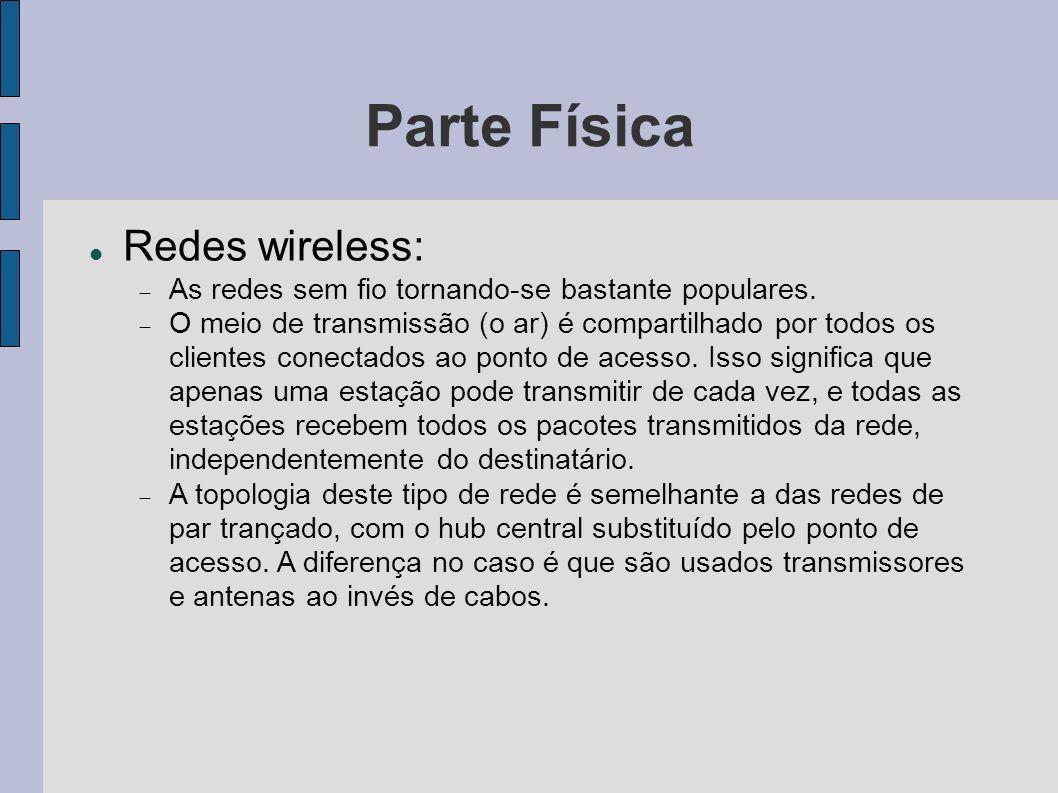 Parte Física Redes wireless: As redes sem fio tornando-se bastante populares.