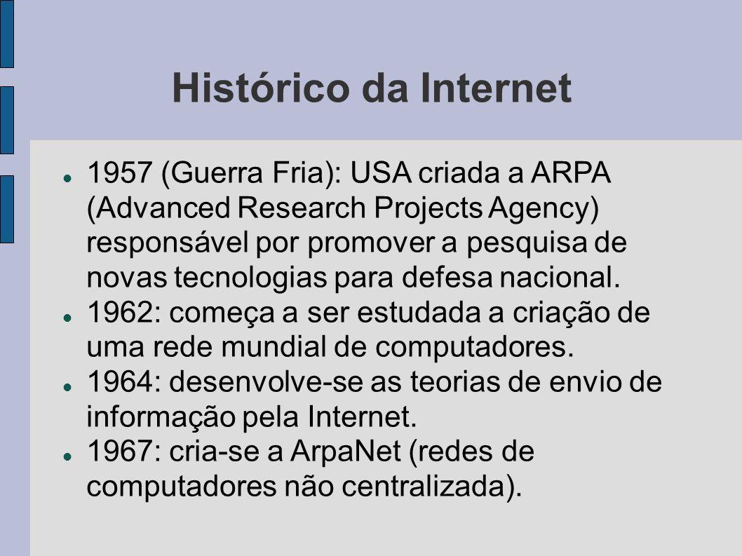 Histórico da Internet 1957 (Guerra Fria): USA criada a ARPA (Advanced Research Projects Agency) responsável por promover a pesquisa de novas tecnologias para defesa nacional.