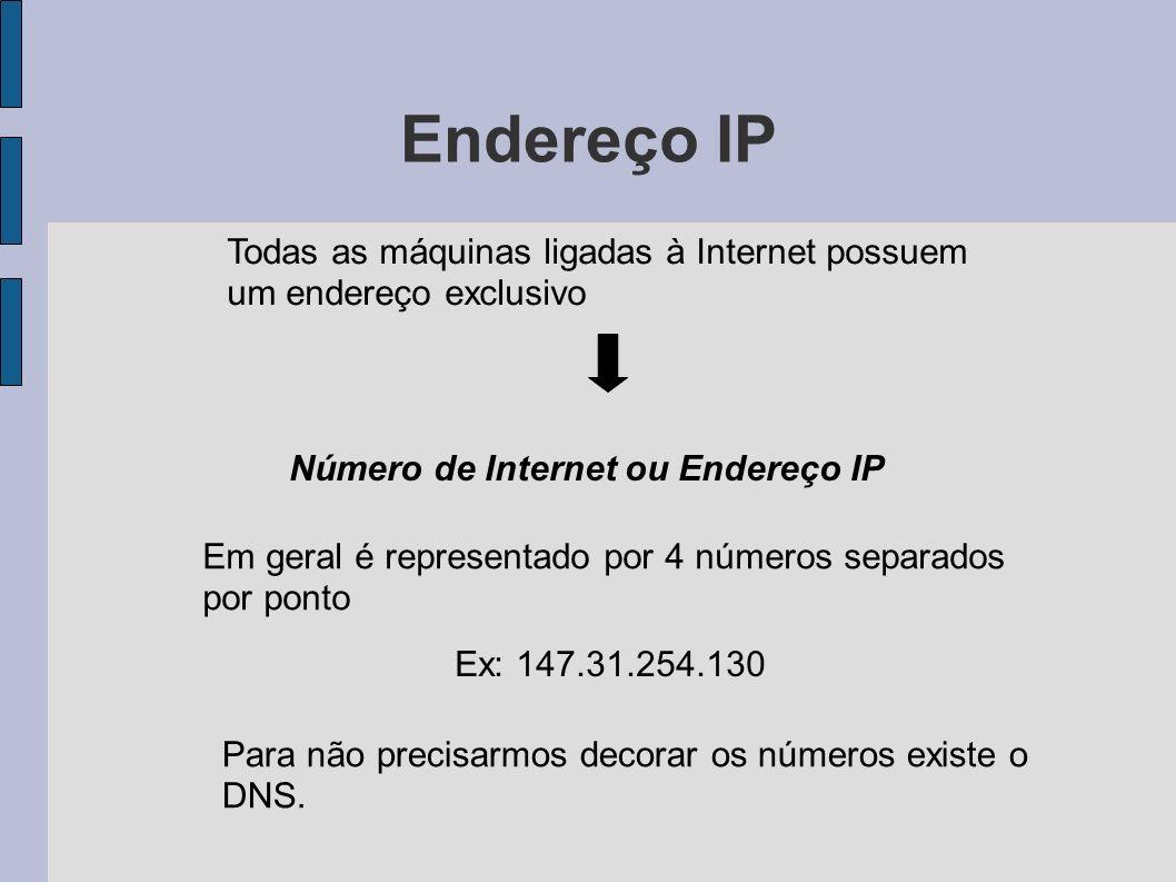 Endereço IP Todas as máquinas ligadas à Internet possuem um endereço exclusivo Número de Internet ou Endereço IP Em geral é representado por 4 números separados por ponto Ex: 147.31.254.130 Para não precisarmos decorar os números existe o DNS.